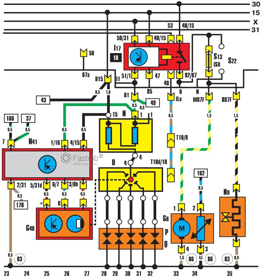Audi 100 схема топливного