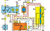 Схема: обогрев заднего стекла и вентилятор отопителя