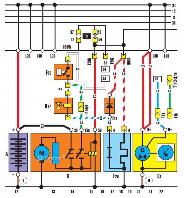 Схема соединений генератора стартера