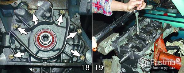 Разборка двигателя ВАЗ 2110 шаг 18-19