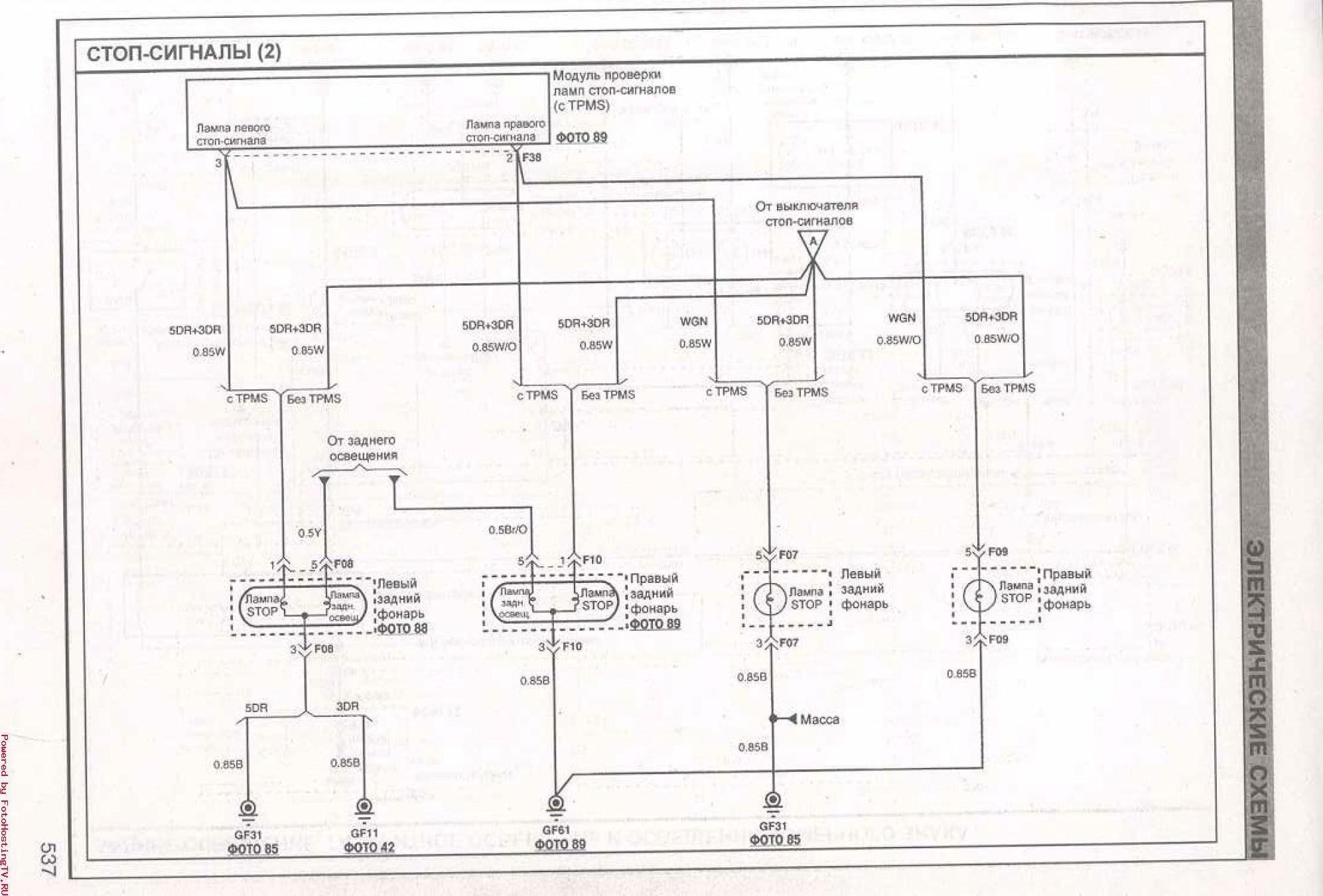 Электрическая схема стоп сигналов KIA Ceed.