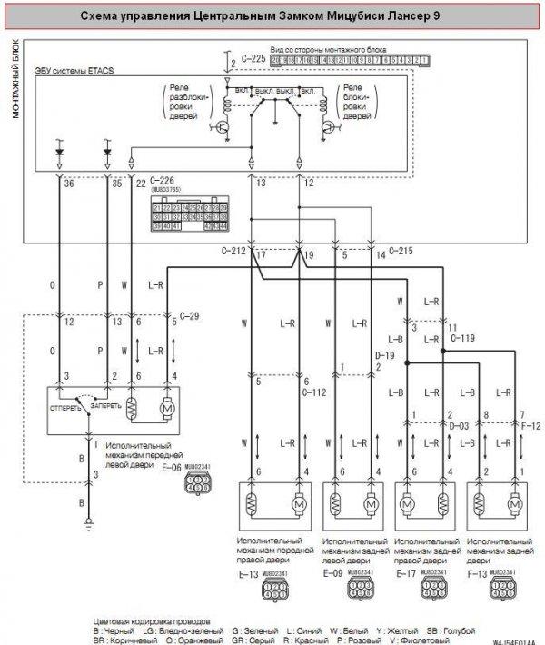 Схема Центрального Замка Mitsubishi Lancer 9