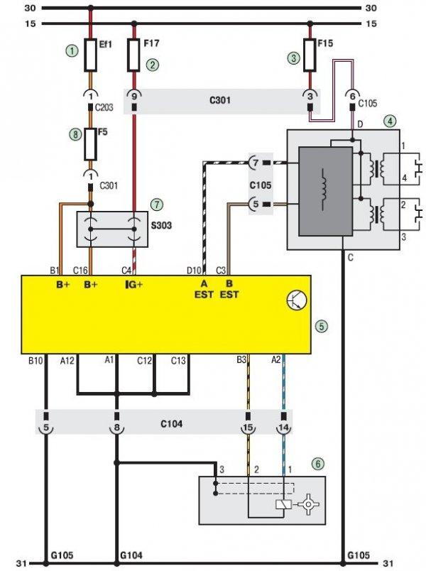 Электросхема системы управления двигателем Daewoo Lanos
