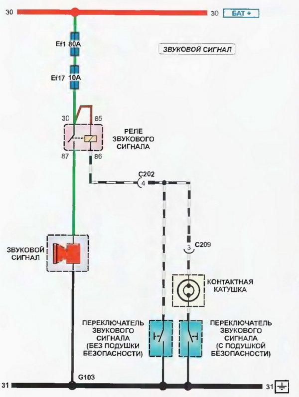 Электросхема звукового сигнала