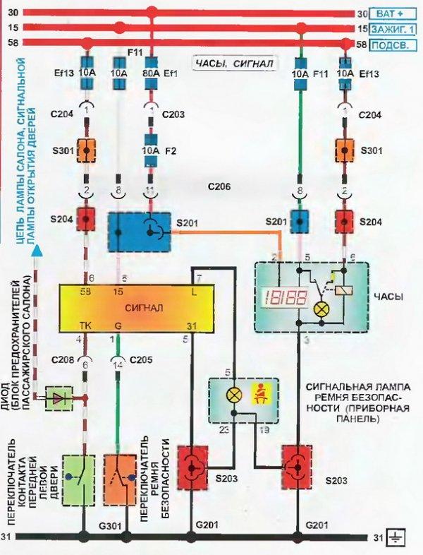 Электросхема работы часов Daewoo Lanos