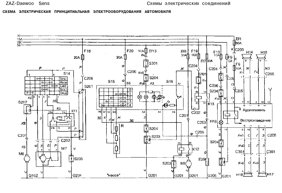 Схема электрооборудования дэу нексия 2007