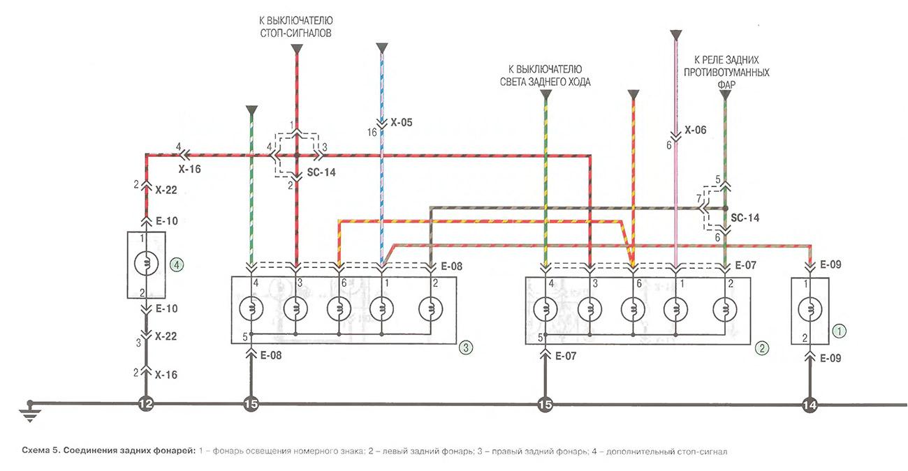 ЭЛЕКТРООБОРУДОВАНИЕ Схема подключения задних фонарей на камаз