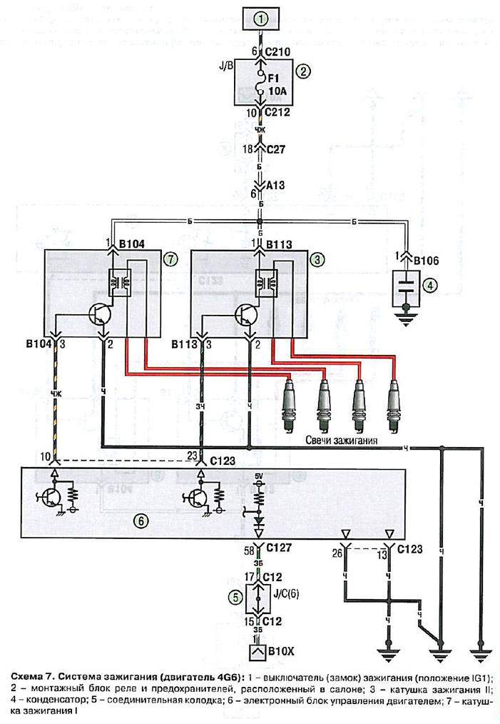 Схема двигателя Митсубиси