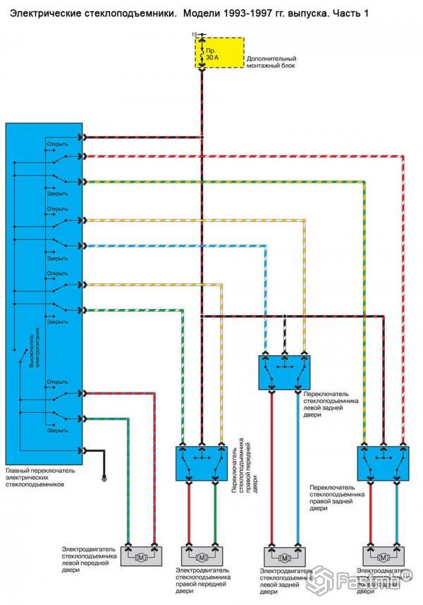 Электрическая схема стеклоподъемников на авто