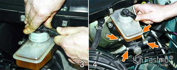Замена главного тормозного цилиндра шаг 3-4