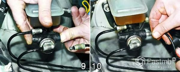 Замена главного тормозного цилиндра шаг 9-10