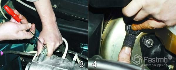 Замена обратного клапана вакуумного усилителя шаг 3-4