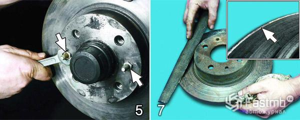 Замена тормозных дисков шаг 5-7