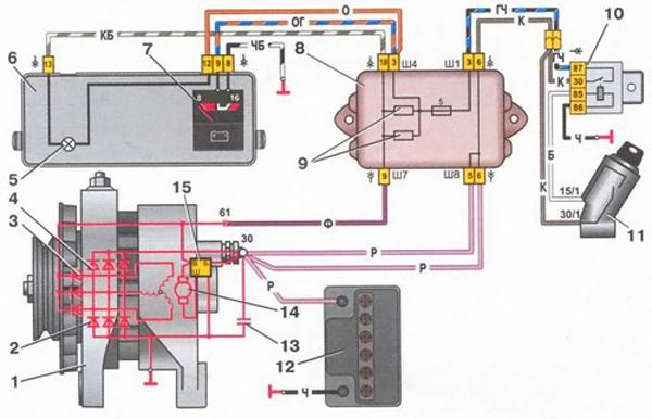 Схема соединений системы генератора