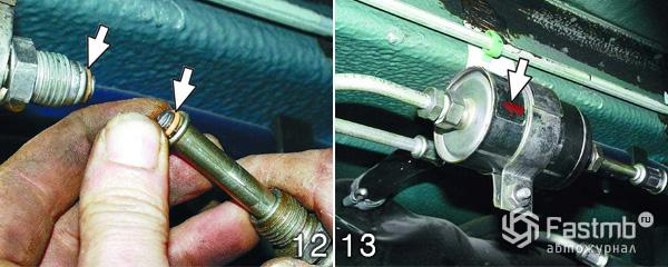 Замена топливного фильтра шаг 12-13