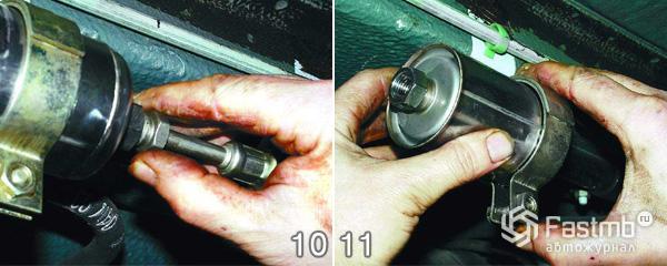 Замена топливного фильтра шаг 10-11