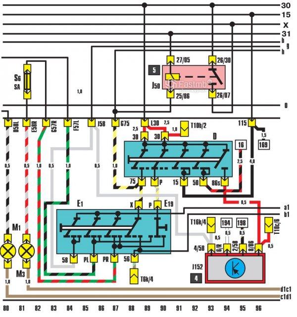 Схема замка зажигания и сигналов стояночного тормоза