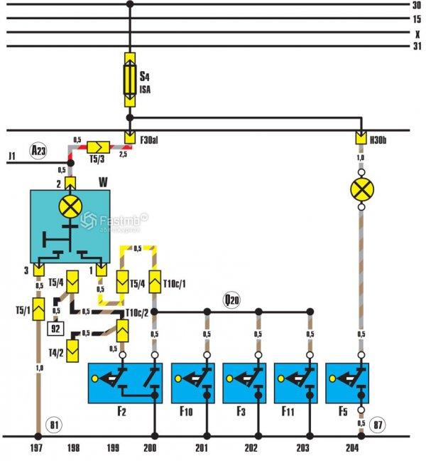 Схема внутреннего освещения багажника автомобиля и дверных выключателей