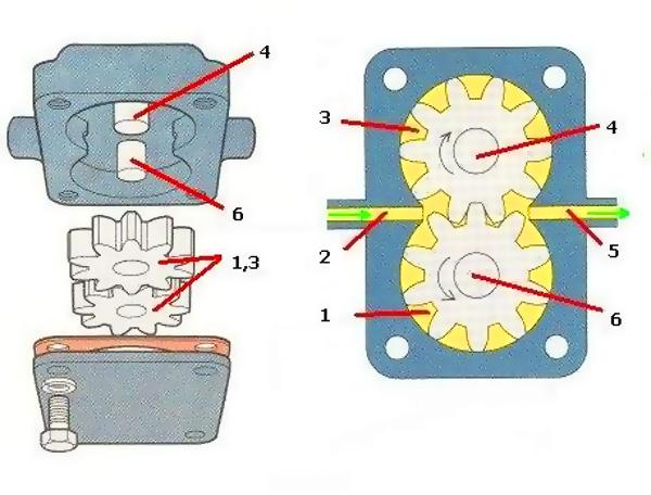 схема масляного насоса шестеренного типа