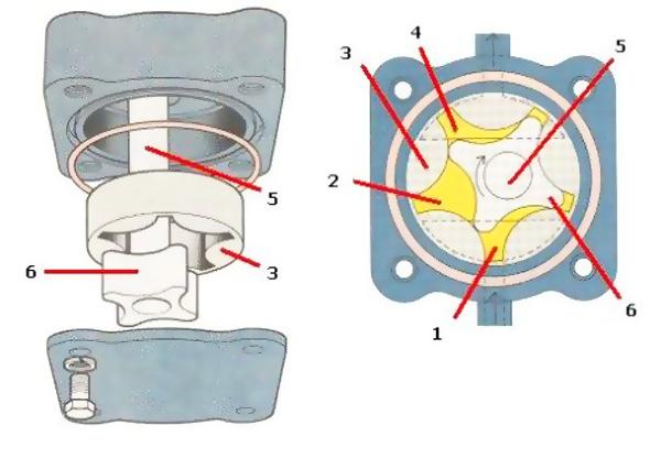 схема масляного насоса роторного типа