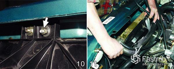 Снятие и замена радиатора охлаждения шаг 10-11