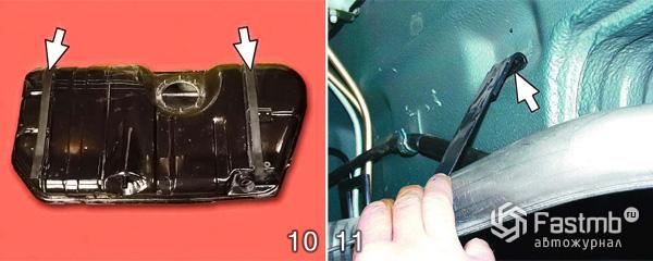 Снятие и замена топливного бака шаг 10-11