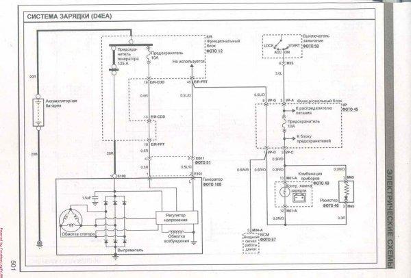 Kia Ceed схема системы зарядки D4EA