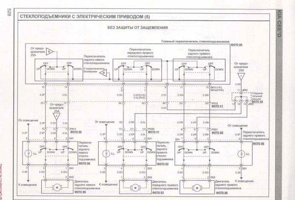 Схема стеклоподъёмников с электрическим приводом Киа Сид