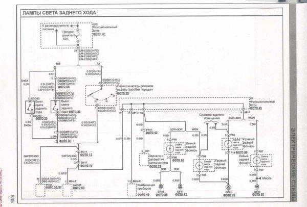 Схема электрическая - лампы света заднего хода Киа Сид