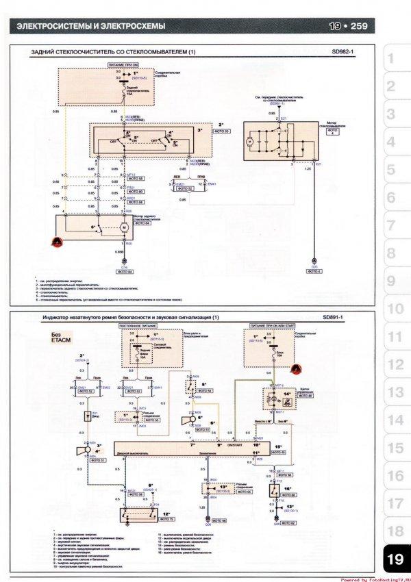 Kia Picanto - схема задний стеклоочиститель и стеклоомыватель