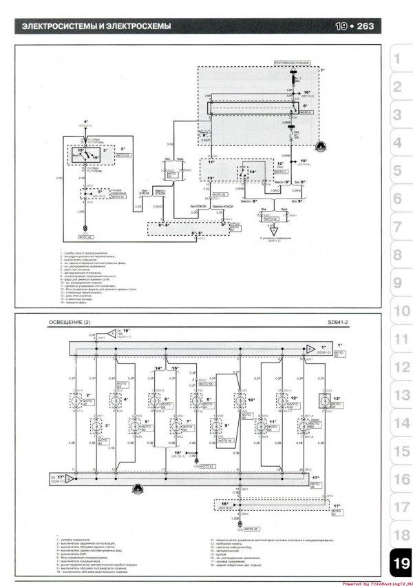 Электрическая схема освещения и парктроника KIA Picanto