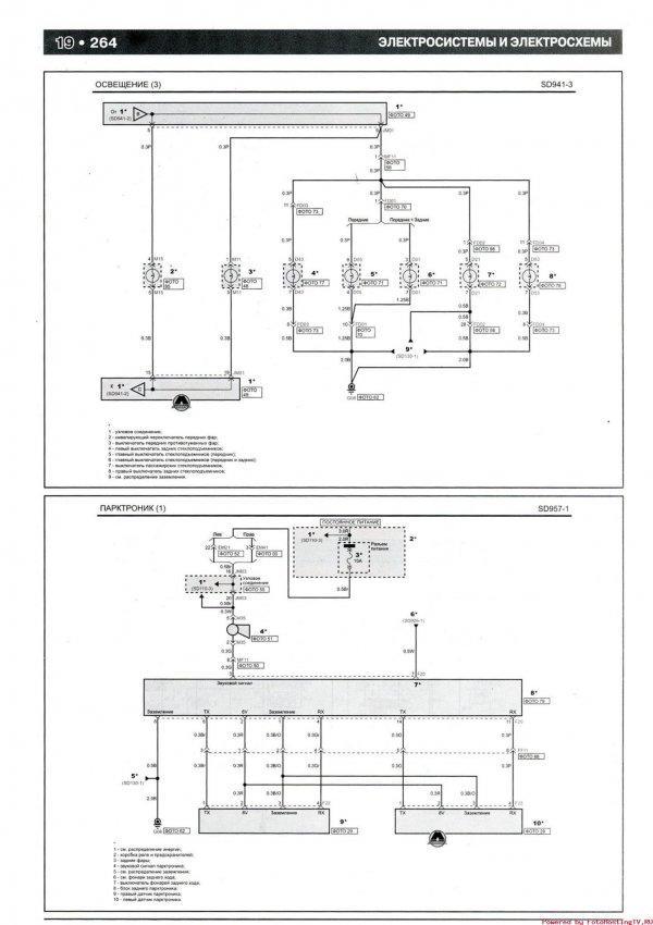 Электрическая схема освещения и парктроника KIA Picanto 2