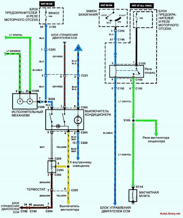 Электрическая схема кондиционирования воздуха 4 Kia Sephia