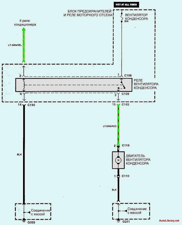 Электрическая схема кондиционирования воздуха Kia Sephia