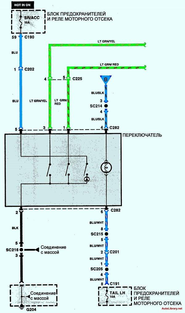 Электрическая схема кондиционирования воздуха 3 Kia Sephia