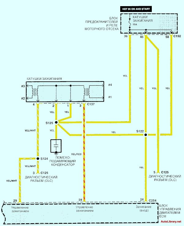Электросхема системы двигателя Kia Sephia