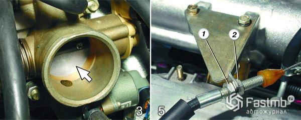 Регулировка троса привода дроссельной заслонки шаг 3-5