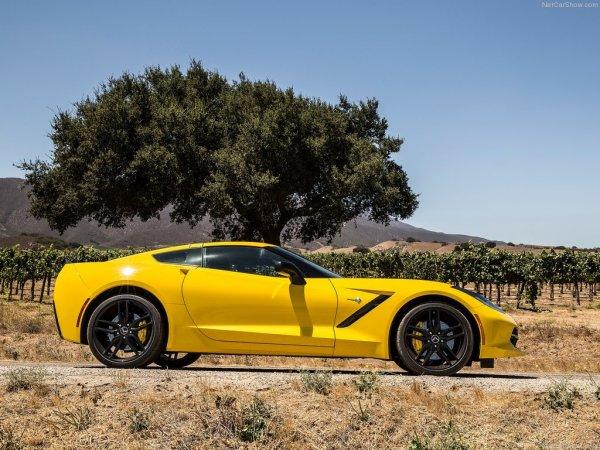 Chevrolet Corvette C7 Stingray сбоку, желтого цвета