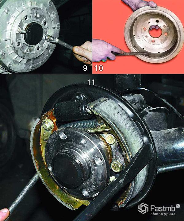Замена тормозного барабана шаг 9-11