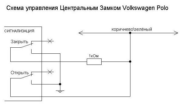 Схема подключения центрального замка Volkswagen Polo