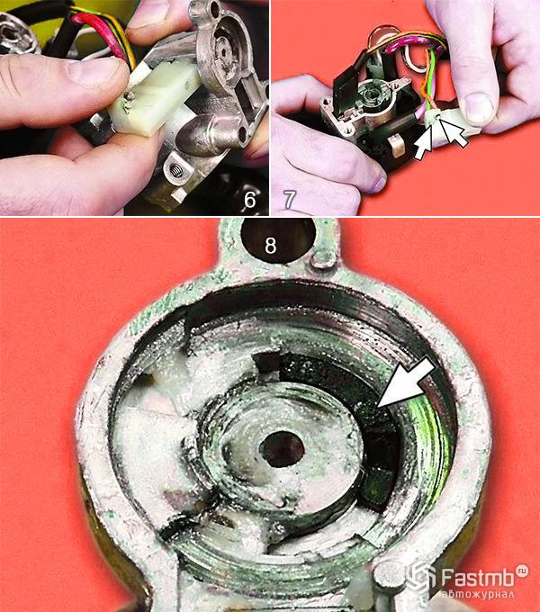 Замена микровыключателя замка зажигания шаг 6-8