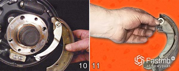 Разборка тормозного механизма заднего колеса шаг 10-11