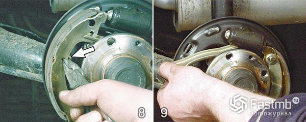 Разборка тормозного механизма заднего колеса шаг 8-9