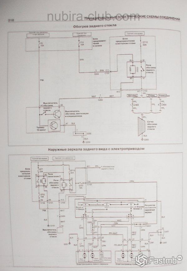 Электрические схемы Дэу Нубира - обогрев заднего стекла и зеркала заднего вида с электроприводам
