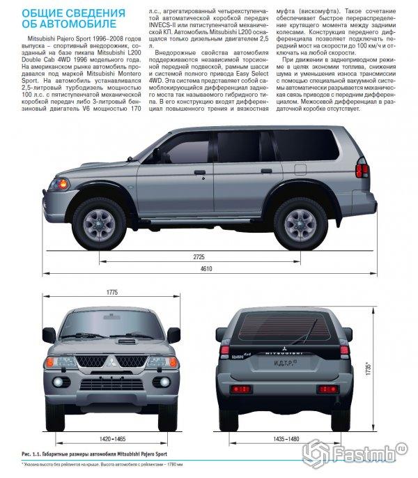 Технические характеристики Mitsubishi Pajero Sport 1