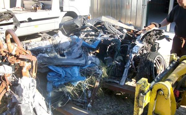 Разбитая и сгоревшая Ferrari F430 Spider