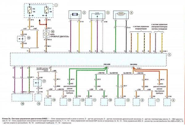 Система управления двигателем G4GC и G6BA Hyundai Tucson
