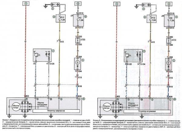 Электросхемы соединения генераторной установки Митсубиси Лансер 9