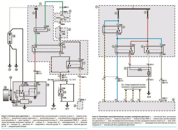 Электрическая схема системы пуска двигателя Hyundai Getz
