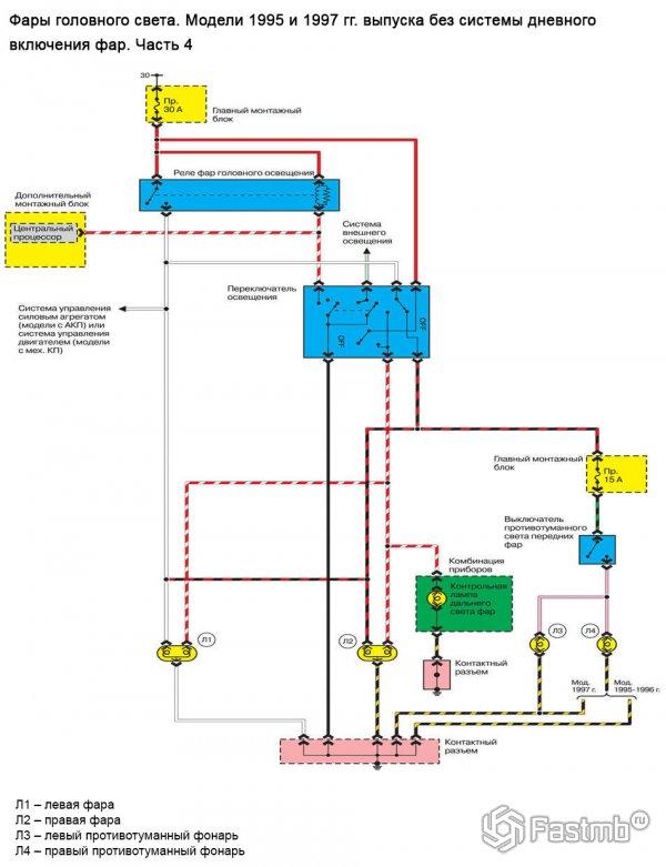Электрическая схема фар главного освещения Mazda 626 GE